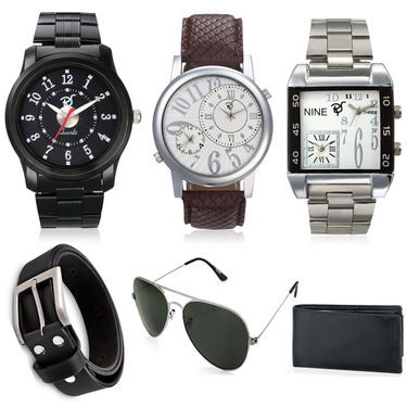 Combo of 3 Rico Sordi Stylish watches for Men_RSD89_WSGWB + Wallet + Sunglasses + Belt