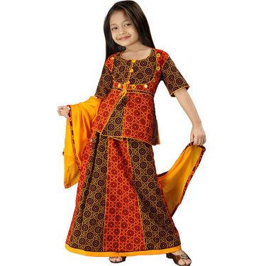 Little India Rajasthani Bandhej Multicolour Lehanga Choli - DLI3GED107C