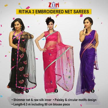 Zuri Ritika 3 Embroidered Net Sarees (3N2)