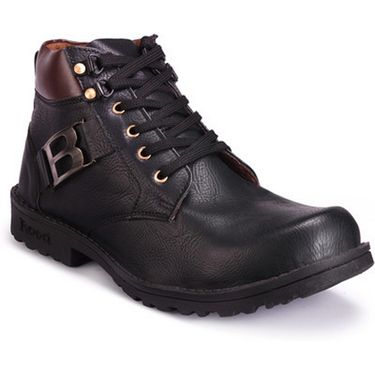Branded Synthetic Leather Casual   Shoes Scomc309 -Black