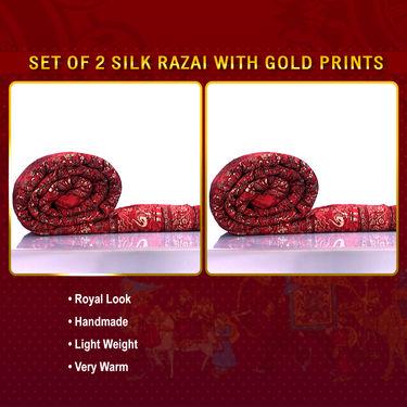 Set of 2 Jaipuri Silk Razai with Gold Prints