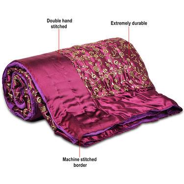 Set of 2 Purple Jaipuri Silk Razai with Gold Prints