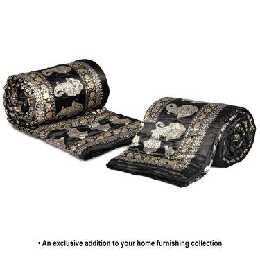 Set of 2 Black Jaipuri Silk Razai with Gold Prints