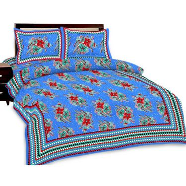 Shop Rajasthan Jaipuri print double bed sheet with Two Pillow Covers-SRA2754