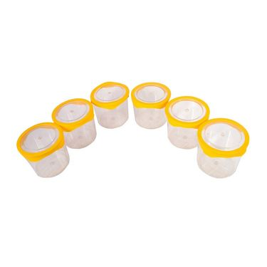 Kitchen Duniya Seal n Kiss Storage Canister Set of 6-Golden Yellow