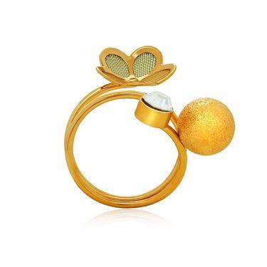 Spargz Designer Floral Spiral Pattern Ring - White_AIFR036
