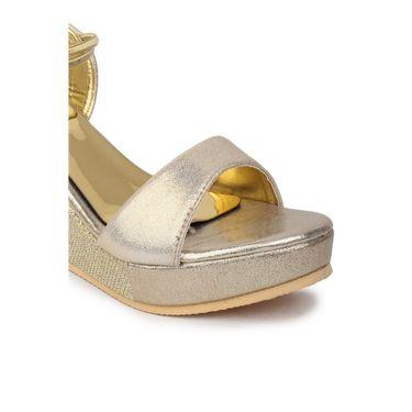 Do Bhai Faux Leather Heels Sparkle-Gola-Golden