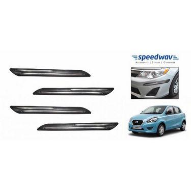 Speedwav Car Black Twin Chrome Bumper Scratch Protector- Datsun Go