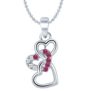 Sukkhi Ravishing Rhodium Plated Heart Pendant - White - 18003PADL250