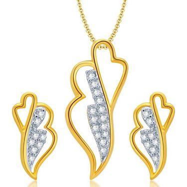 Sukkhi Fashionable Gold & Rhodium Plated Pendant Set - White & Golden - 4064PSCZL680