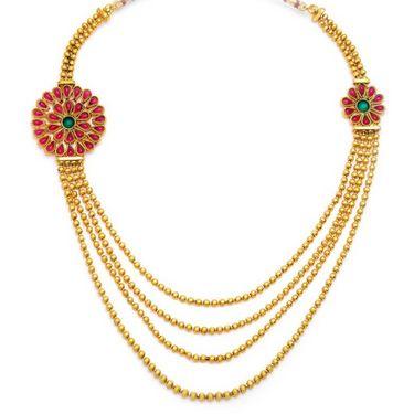 Sukkhi Intricately Gold Plated Necklace Set - Golden - 2123NGLDPV2750