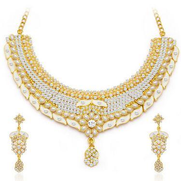 Sukkhi Elegant Gold Plated Necklace Set - Golden - 2131NADV2600