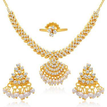 Sukkhi Sleek & Finely Gold Plated Necklace Set - Golden - 2170NADV750