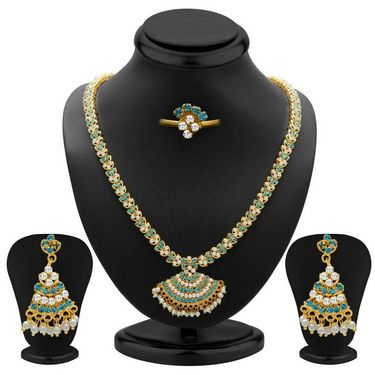Sukkhi Sublime & Sublime Gold Plated Necklace Set - Aqua & White - 1008N-LC-AQUA-WT-2000