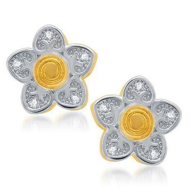 Sukkhi Sleek Gold and Rhodium Plated Earrings - Golden & White - 176EARSDPVTS280