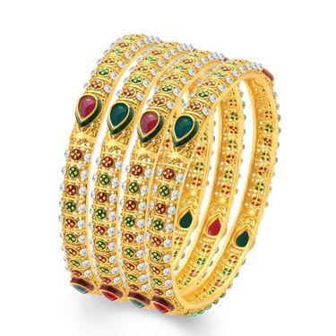 Sukkhi Sublime Set of 4 Gold Plated Bangles - Golden - 32018BGLDPV1800