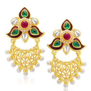 Sukkhi Ethnic Gold Plated Earrings - Golden - 6062EGLDPM400