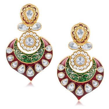 Sukkhi Pleasing Meenakari Gold Plated CZ Studded Moti Earrings