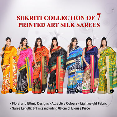 Sukriti Collection of 7 Printed Art Silk Sarees by Varanga (7A8)