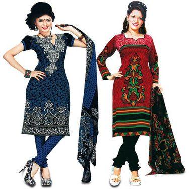 Aadarshini Elegant 7 Printed French Crepe Dress Material (7FCDM2)