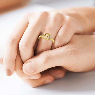 Avsar Real Gold & Swarovski Stone Shruti Ring_T028yb
