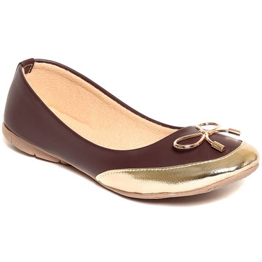Synthetic Leather Brown Bellerinas -556Brw