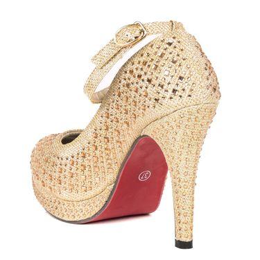 Non Leather Gold Stilettos For Womens -tb11