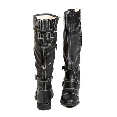 Leather Black Boots For Womens -tb14
