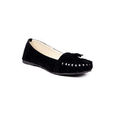 Ten Suede Leather 065 Women's Loafers - Black