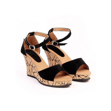 Ten Suede Leather 280 Women's Wedges and Platforms - Black