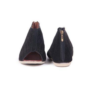 Ten Suede Leather 102 Women's Peep Toes - Black