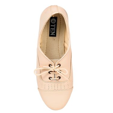 Ten Synthetic Leather Cream Womes Sports Shoes -ts317