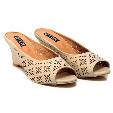 Synthetic Leather Beige Wedges -575Beg02