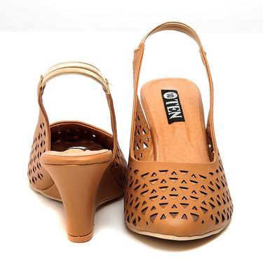Synthetic Leather Tan Wedges -576Tan01