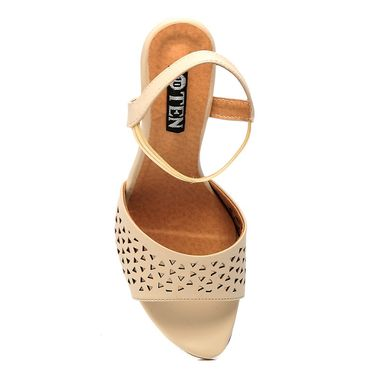 Synthetic Leather Beige Wedges -577Beg02