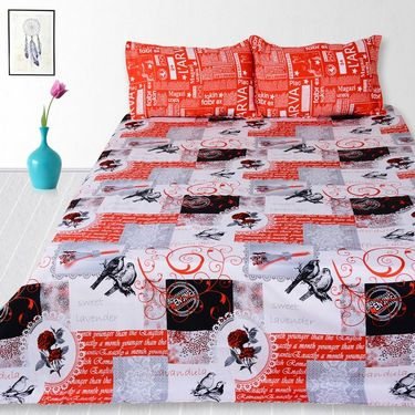 Story @ Home 240 TC 100% Cotton Red King Size 1 Double Bedsheet With 2 Pillow Cover-TV1203