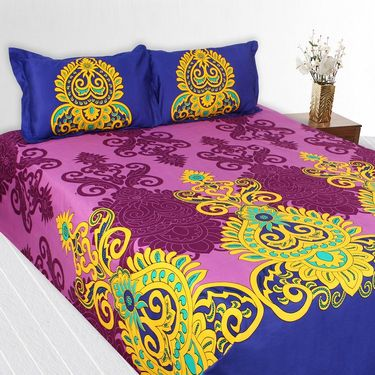 Story @ Home 240 TC 100% Cotton Pink King Size 1 Double Bedsheet With 2 Pillow Cover-TV1208