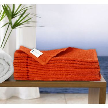 Story@Home Pack of 10 Face Towel 100% Cotton-Orange-TW1205-S