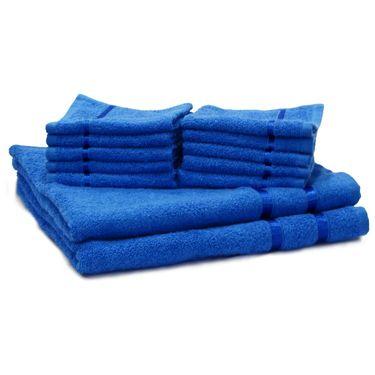 Story@Home Combo of 12 Pcs Bath & Face Towel 100% Cotton-Blue-TW12_2-04X_1-04S