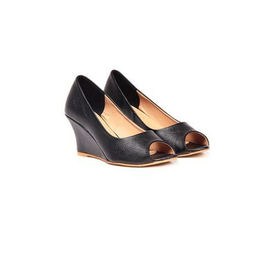 Ten Leatherite 198 Wedges & Platforms - Black