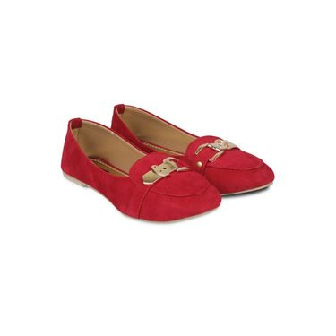 Ten Suede Leather Loafers For Women_tenbl073 - Red