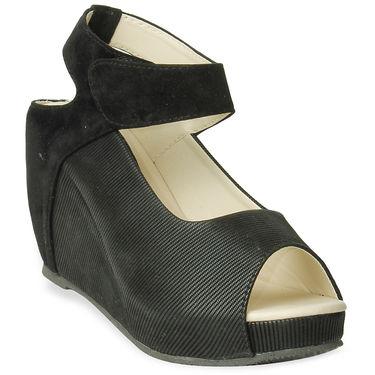 Ten Fabric Heels Sandals For Women_tenbl088 - Black
