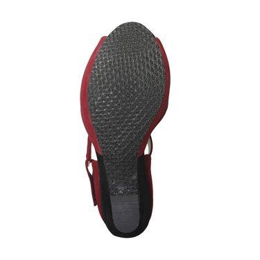 Ten Suede Leather Heels Sandals For Women_tenbl107 - Red