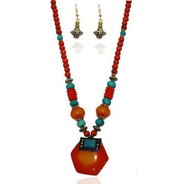 Urthn Fashionable Necklace Set - Brown - 1103231