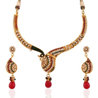 Variation Traditional Multi Peacock Design Necklace Set_Vd11081