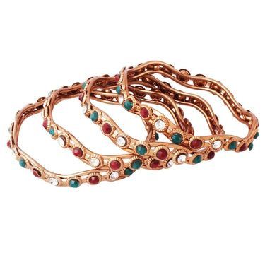 Variation Maroon & Green Pack Of 4 Copper Bangles_Vd11377
