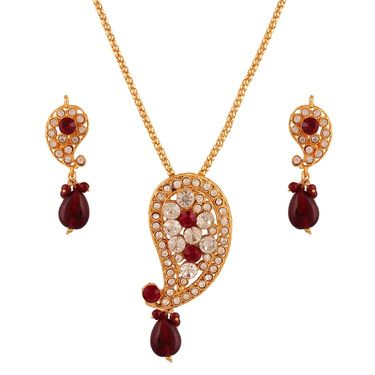 Variation Red Stone Gold Plated Pendant Set_Vd11655