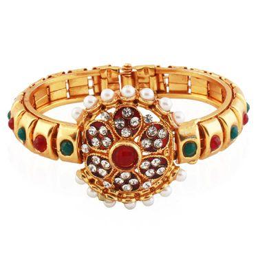 Variation Maroon & Green Indian Pearl Fashion Bangle_Vd13750