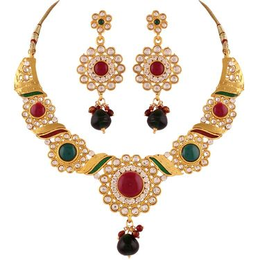 Variation Green & Maroon Kundan Gold Plated Necklace Set_Vd13994