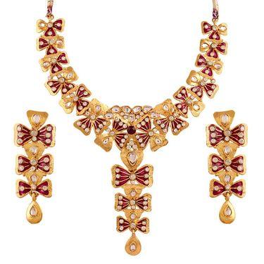 Variation Exclusive Purple Enamel Bridal Necklace Set_Vd14164